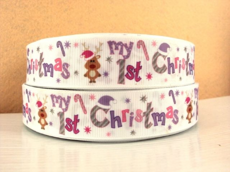 1M RUDOLPH MY 1ST CHRISTMAS XMAS RIBBON IN SIZE INCH HEADBANDS BOWS CARD MAKING